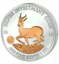 AFRICAN SPRINGBOK - GABON - 2012 1 oz Pure Silver in Capsule - Rose Gold
