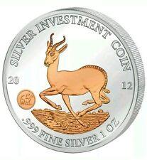 AFRICAN SPRINGBOK - GABON - 2012 1 oz Silver Coin in Capsule - Rose Gold