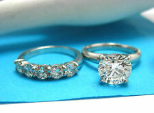 Platinum Wedding Ring Set 2.16 Carat Round Diamond Solitaire Size 5 GIA