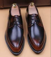 Men's Dress Formal Cuban Heel Pointed Toe Lace Up Casual Wedding Smart Shoes