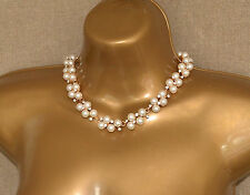 STUNNING Pearl and Diamond effect choker necklace Wedding Diamante Jewel Pendant