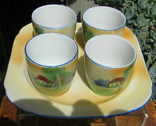 STUNNING SET VINTAGE JAPANESE HAND PAINTED PORCELAIN EGG CUPS & STAND