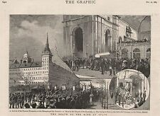 1885 DEATH OF KING ALONSO OF SPAIN FUNERAL PROCESSION MONASTERY OF ESCURIAL