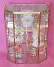 new Glass and brass small CURIO CABINET display staggered shelves Grade B
