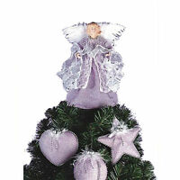 NEW~LILAC CHRISTMAS TREE ANGEL/TOPPER PLUS 3 MATCHING DECORATIONS