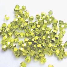 100 Austrian Crystal Glass Beads -Half Metallic Yellow Green - 4mm