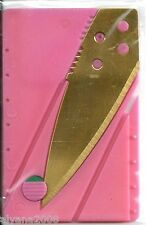 Gold Credit Card Knife Pocket wallet knife Survival Steel Blade. (PINK)