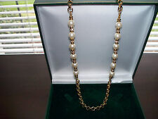 "Nolan Miller Faux Pearl and Crystal Station, Gold-Plated 30"" Necklace-Adjustable"