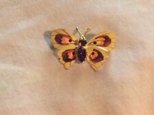 Czech Gold Plated Painted ENAMEL Topaz Colored Rhinestones BUTTERFLY BROOCH
