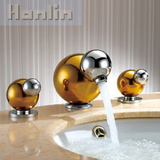 Luxury Widespread Bathroom Sink Mixer Tap 3 Holes Basin Faucet Gold&chrome Brass