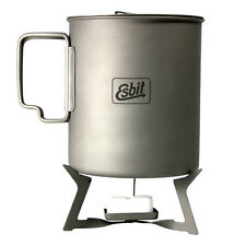 Esbit 750ml Titanium Pot with Esbit Titanium Stove and Esbit Solid Fuel
