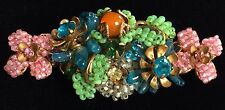 Vintage Miriam Haskell Brooch Pin~MultiColor-Glass/Beads/RS/Gilt Filigree~Signed