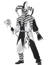 NEW Scary Evil Jester Joker Circus Freak Clown Mens Halloween Costume Cosplay SM