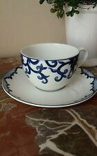 Ralph Lauren Mandarin Tea Cup and Saucer Beautiful Striking Blue on White Design