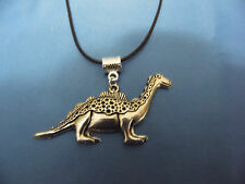 """""""NEW"""" TIBETAN SILVER DINOSAUR NECKLACE ON A 18 INCH BLACK WAXED-CORD CHAIN 2MM"""