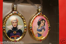 SNOW WHITE & WICKED WITCH GLASS CHRISTMAS TREE ORNAMENTS DISNEY HALLMARK NIB