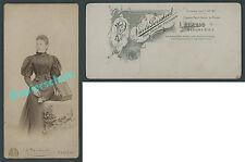 or. CDV-Fotografie Nicola Perscheid Leipzig Dame Mode Jugendstil Großformat 1895