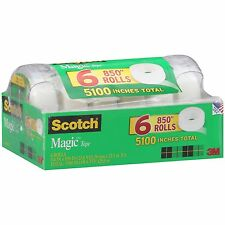 """Scotch Magic Tape with Refillable Dispenser - 3/4"""" x 850"""" - 6 Rolls New"""