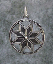 """Old Hutsul Star Amulet Pendant,8 edges, Oxidized + Sterling Silver, 1 1/4"""""""