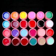 24 Pcs Color Mix Solid Pure Nail Art UV Builder Gel Set for Acrylic Tips Pink