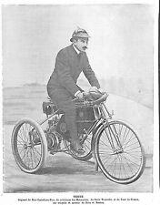 TESTE VAINQUEUR NICE-CASTELLANE-NICE MOTOCYCLE DE DION BOUTON ILLUSTRATION 1900