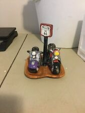 Route 66 Motorcycle Salt & Pepper Shakers W/ Base