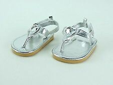 """Silver Diamond Heart Sandals - sized for American Girl®& other 18"""" Dolls"""