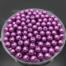 NEW 8mm 50Pcs Acrylic Round Pearl Spacer Loose Beads Jewelry Making Purple