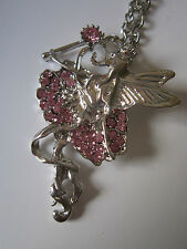 Fairy Necklace - Pink Rhinestones - Pendant & 20 inch Chain