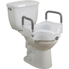 """Easy to Clean 5"""" Locking Elevated Raised Toilet Seat with Removable Padded Arms"""