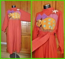 Vtg 80s MEXICAN Embroidery ART Applique Cotton Festival Boho Belted DRESS CAFTAN