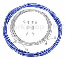 Bicycle 5mm LINED vintage ROAD bike brake cable housing kit  COBALT BLUE (BRAID)