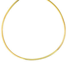 "20"" 3.0mm 14K Yellow Gold 925 Sterling Silver Reversible Omega Necklace"