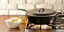 "Lodge L10CF3 12 1/2"" Pre-Seasoned Cast Iron Covered Chicken Fryer Deep Skillet"