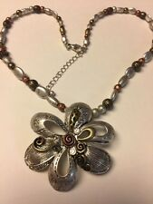 "Grandmas Estate Tri Color Flower Bead 18"" Statement Necklace 11/11"