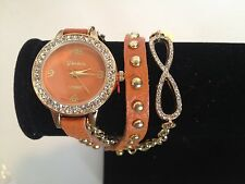 Wrap Around Leather Quartz Watch W/Gold Chain & Crystals NEW