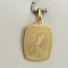 18k Yellow Gold Madonna Mary Mother of Sorrows Medal Charm Pendant 2.5gr
