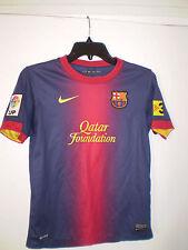Nike FC BARCELONA FCB JERSEY Soccer Futbol (YOUTH LARGE L) QATAR FOUDATION Messi