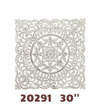 "Carved Wood Square Wall Decor 30"" White - Hand finREGAL ART & GIFT 20291"