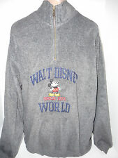 DISNEY Embroidered Mickey Mouse Fleece Sweatshirt Gray Unsex SMens Womens Large