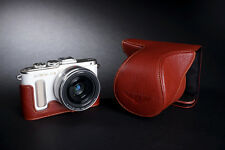 Genuine Real Leather Full Camera Case Bag Cover for Olympus E-PL8 EPL8 Brown