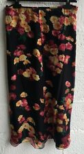 CAROLINE CHARLES SILK BLACK RED ORANGE FLORAL MAXI SKIRT UK 16 Z564