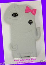 Bath & Body Works Sparkly GREY ELEPHANT w/ PINK BOW iPhone 4/4s Easy-Grip Case