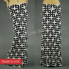 USA Fold Over Long Black White Bohemian Hippie Chic Tribal Chain Long Maxi Skirt