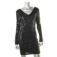 Guess 6867 Womens Black Metallic Sequined Party Cocktail Dress M BHFO