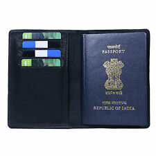 Hide&Sleek Real leather Black travel document passport holder