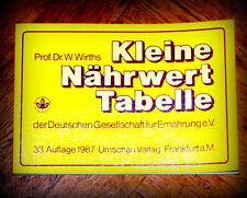 Die kleine Nährwert-Tabelle von Prof. Dr. W. Wirths (Deut. Gesell.für Ernährung)