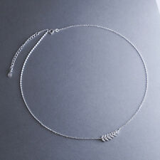 925 Sterling Silver Rhinestone Leaves Curved Bar Pendant Choker Chain Necklace