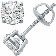 0.25Ct TCW Diamond G-H SI3-I1 14K White Gold Solitaire Mens Single Stud Earring