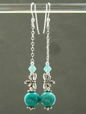 Turquoise Gem & Swarovski Crystal, Tibetan Dragonfly & Sterling Silver Earrings